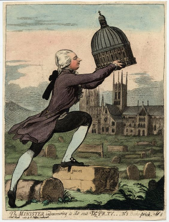 """""""The Minister endeavouring to eke out Dr Pr*ty***n's Bisho-prick"""" by James Gillray, 1787. Pitt had just appointed his friend Dr. Pretyman as both Bishop of Lincoln and Dean of St. Paul's, over George III's objections. Gillray ironically represents him placing a large (and phallic) dome of St. Paul's over the central tower of Lincoln Cathedral."""