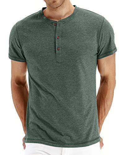 NITAGUT Mens Fashion Casual Front Placket Basic Long Sleeve Henley T-Shirts M,