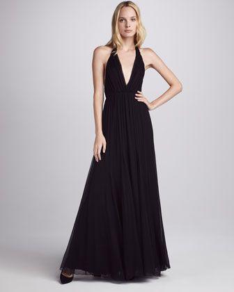 Alberta Chiffon Halter Maxi Dress - Neiman Marcus