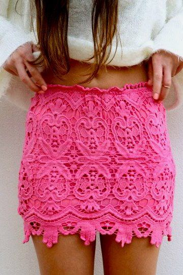pink lace skirt.