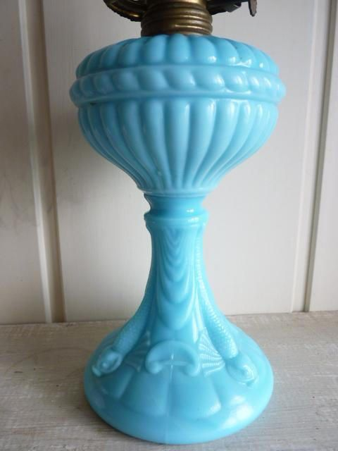 Fully functional Oil Lamp in Broken Blue glaze this rustic handmade accent lamp would make a great housewarming gift  Apx 14H x 4.5  W