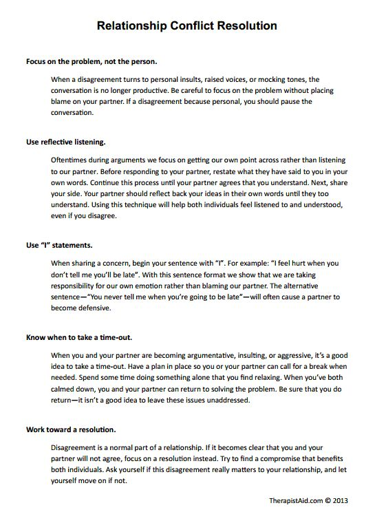 Relationship Conflict Resolution Preview Psychology – Effective Communication Worksheets Adults