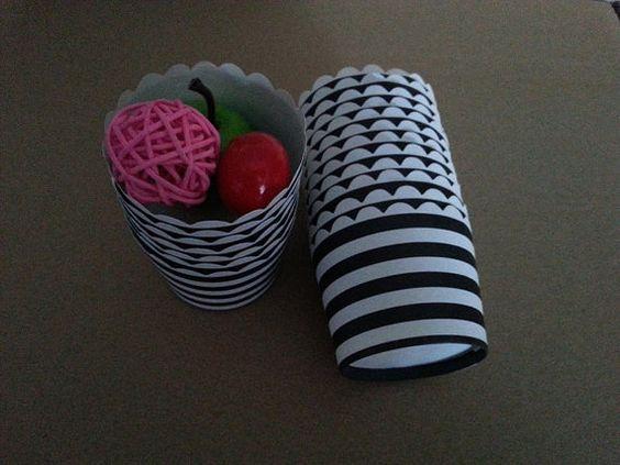 50pcs Black White Horizontal Stripes Paper by MrGlassesSweetParty, $7.00