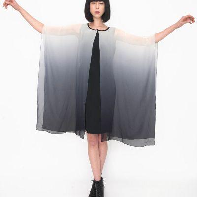Silk Grey Ombré Dip Dye Drape Dress by AMULET