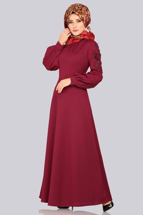 Modaselvim Elbise Kolu Gupurlu Elbise 5483mp186 Bordo Dresses Islamic Dress Long Sleeve Dress