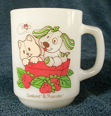 $49.99 Pupcake and Custard Anchor Hocking Milk Glass Collectible Coffee Cup