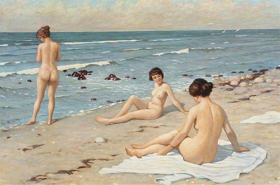 Paul Gustav Fischer - Beach Scene with Bathing Women: