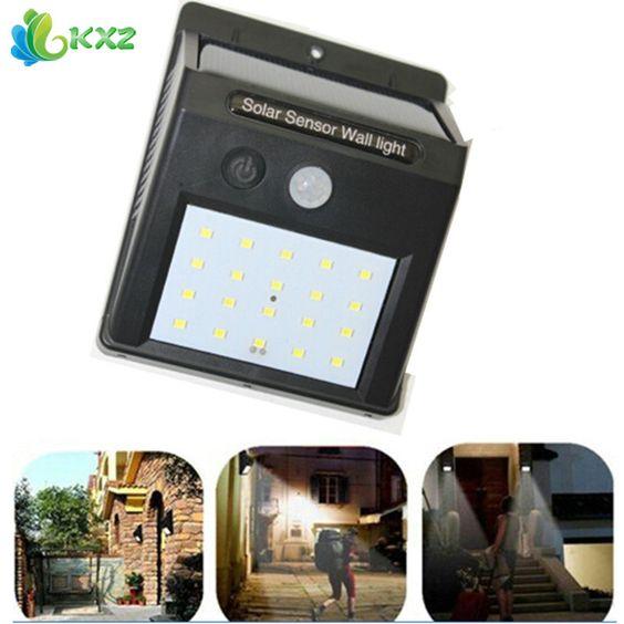 Led de energía solar pir motion sensor de luz de la pared al aire libre a prueba de agua Ahorro de energía Calle Patio Camino Lámpara de Jardín de Su Casa de Seguridad 20 LEDs