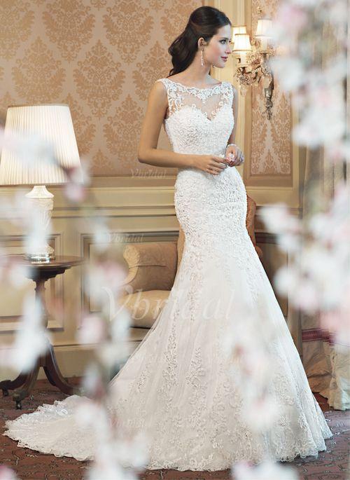 ... -schleppe Tüll Spitze Brautkleid mit Perlen verziert (00205003135