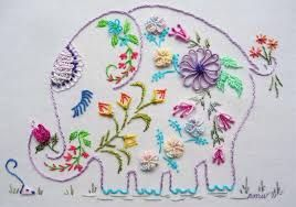 ♒ Enchanting Embroidery ♒  flowery embroidered elephant