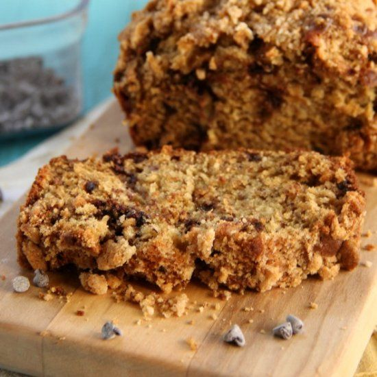 Chocolate Chip Banana Bread with Streusel Topping.
