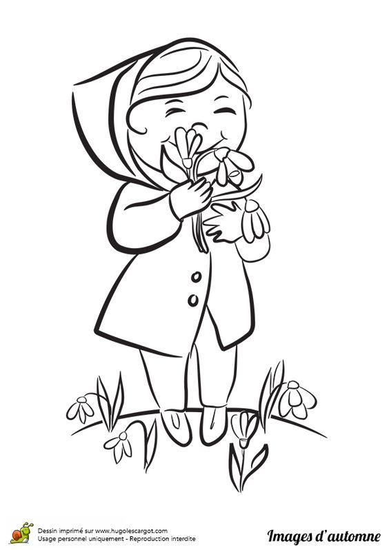 dessin colorier d une petite fille qui cueille des fleurs apr s la pluie coloriages enfants. Black Bedroom Furniture Sets. Home Design Ideas