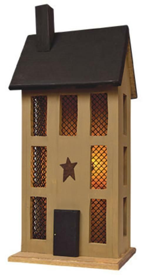 PRIMITIVE LIGHTED SALTBOX HOUSE Wood TAN Electric Rustic Country Farmhouse Light