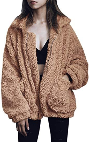 6f1540f8c01 Chic ECOWISH Women s Coat Casual Lapel Fleece Fuzzy Faux Shearling Zipper Warm  Winter Oversized Outwear Jackets online.   30.69  topbrandsclothing from  top ...