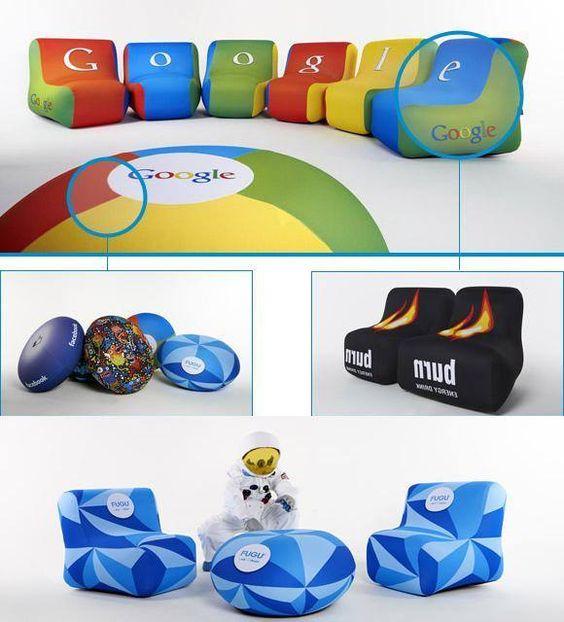 ¡Mobiliario que se hincha en 3 minutos! Puffs y sillones personalizados. - en www.tusregalosdeempresa.com