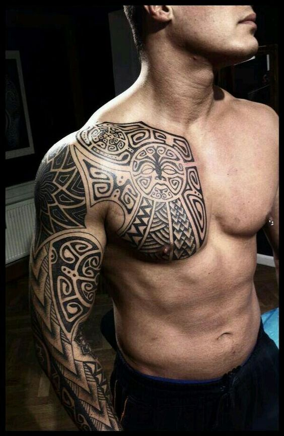 Really Cool Men's Shoulder & Chest Tribal Tattoo.