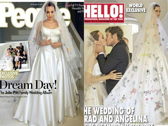 Toda noiva sonha em um casamento especial, cheio de detalhes exclusivos. Angelina Jolie levou a máxima ao topo com seu véu decorado por desenhos feitos pelos seis filhos. O vestido é assinado por Luigi Massi, da Versace, e foi feito em cetim de seda com um drapeado no busto.