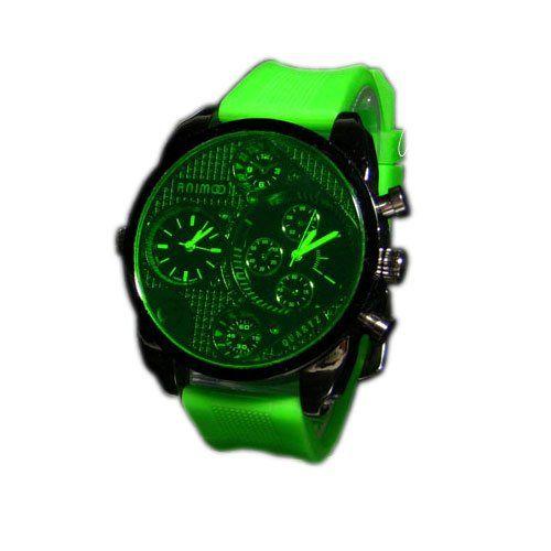 SILIKON UHR Mode Schwarz Grün Armbanduhr DUAL Herrenuhr Sport STYLE Trend WATCH - http://on-line-kaufen.de/animoo/silikon-uhr-mode-schwarz-gruen-armbanduhr-dual