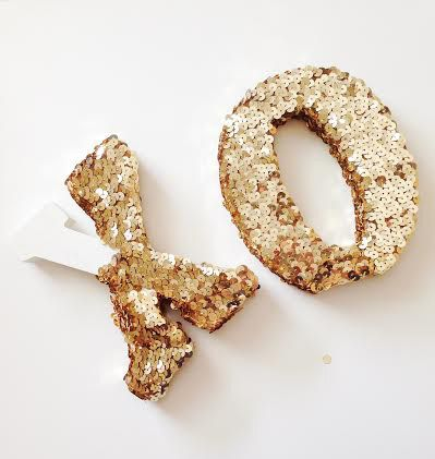 gold sequined letters