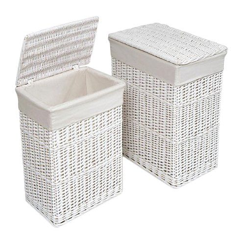 2 Piece Wicker Laundry Set White Wicker Laundry Basket Wicker