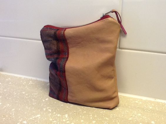Soft leather and fabric clutch pouch for keys,phone,Nintendo ds and games! What ever you like.