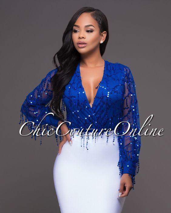 Chic Couture Online Delilah Royal Blue Sequins Mesh