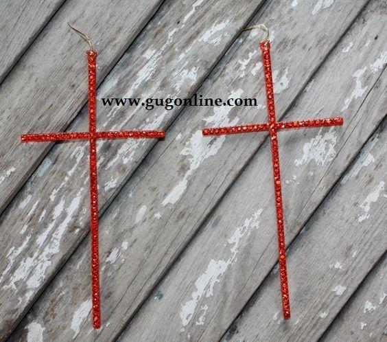 Giddy Up Glamour  $14.95  Large Crystallized Orange Cross Earrings