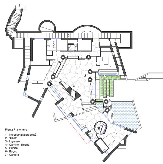 Floor plan for carlo scarpa 39 s villa ottolenghi lake garda for Villa plan dwg