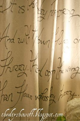 No Sew Script Drop Cloth Curtains   Drop cloth curtains, Curtain ...