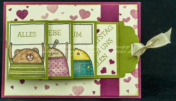 features Stampin Up's Cheerful Critters stamp set; Stempel-trifft-Papier: Noch ein Ziehkarte...