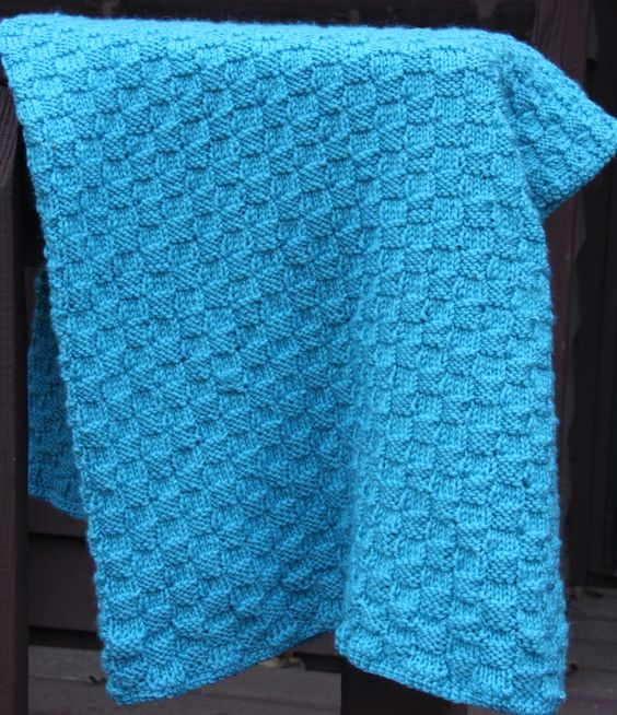 Basket Weave Pattern Knitting Afghan : Authentic knitting board basket weave blanket knit