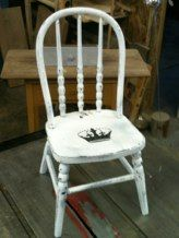 Re-done old chair with Queen bee stencil!
