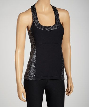 Take a look at this Black & Silver Leopard Racerback Tank by VOGO on #zulily today!