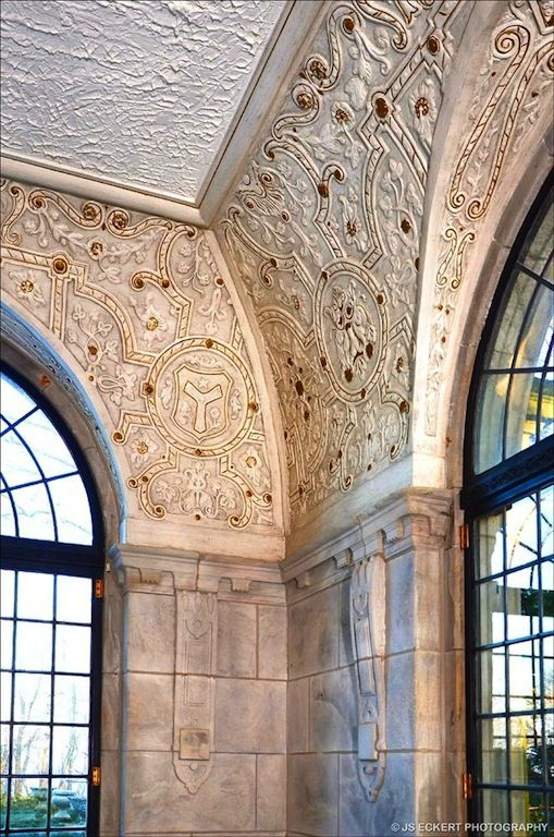 Close up of Details in the Solarium, The Schweppe Estate, Lake Forest, Illinois...
