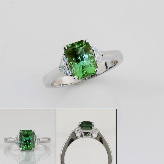 SparHawk - Mint Green Teal Maine Tourmaline and Diamond Ring.   Love it!: