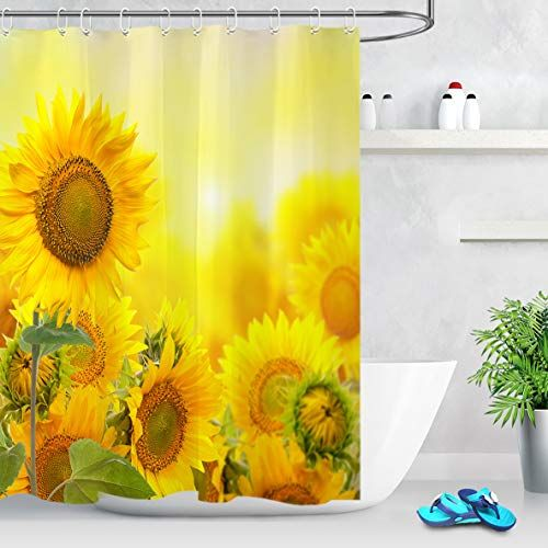 Lb Yellow Blooming Flowers Plants In The Sunshine Sunflower Shower Curtain In 2020 Planting Flowers Blooming Flowers Curtains