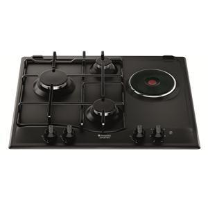 HOTPOINT - PC631BKHA _ Table de cuisson Mixte - 1 foyer rapide 3 kW - Allumage intégré aux manettes - Sécurité gaz par thermocouple - Grilles émaillées.
