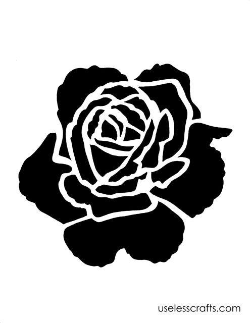 Rose stencil verf paint pinterest stencils rose for Pumpkin carving silhouettes