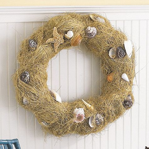 Shell Wreath: purchase 2 bags of decorative sisal from JoAnn's and cover. Idea to Note: add pencil starfish & a loose weave burlap bow