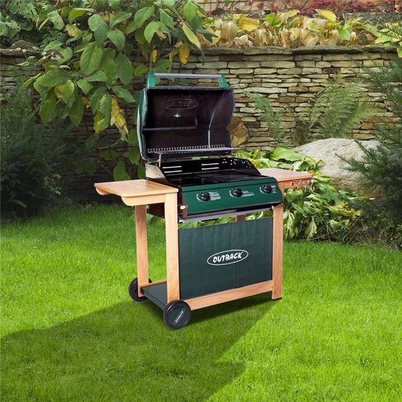Outback Hunter 3 Burner Hooded Gas Barbecue - With Hose & Regulator