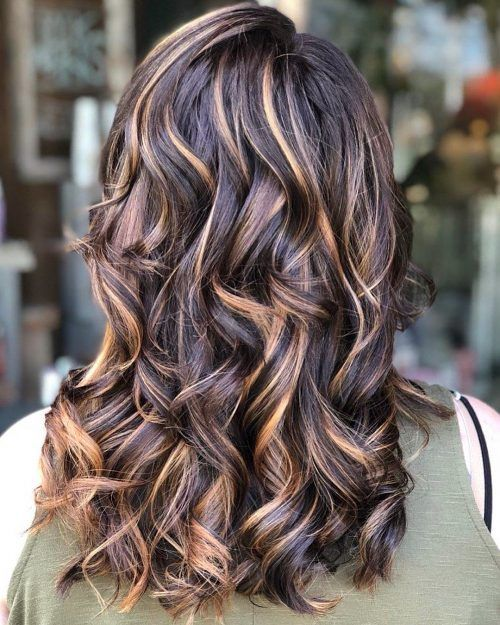 Long Brown Hair With Caramel Highlights Color Haircut For Thick Hair Hair Styles Long Hair Styles