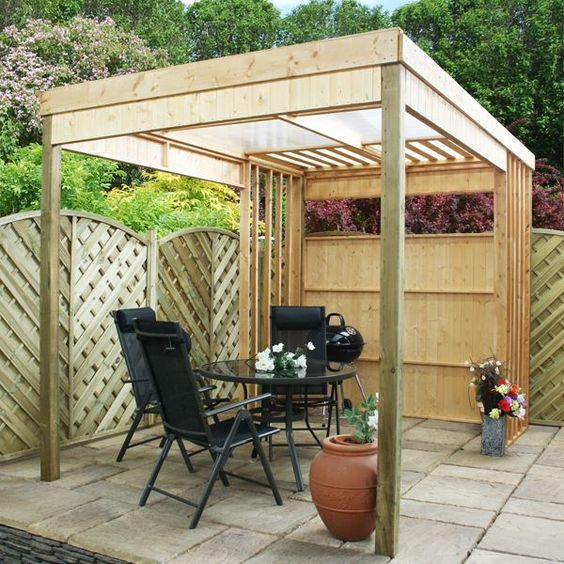 11 x 7 waltons contemporary garden shelter with bbq area for Small garden shelter