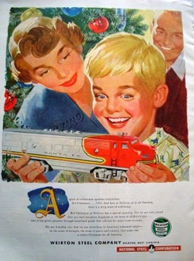 Vintage Christmas Ad ~ Weirton Steel Co. ©1952  haha this could be my hubs as a boy! turned in to an arborist and logger