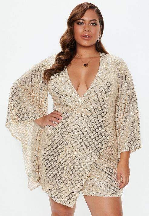 Plus Size Gold Sequin Wrap Mini Dress | Plus size sequin ...
