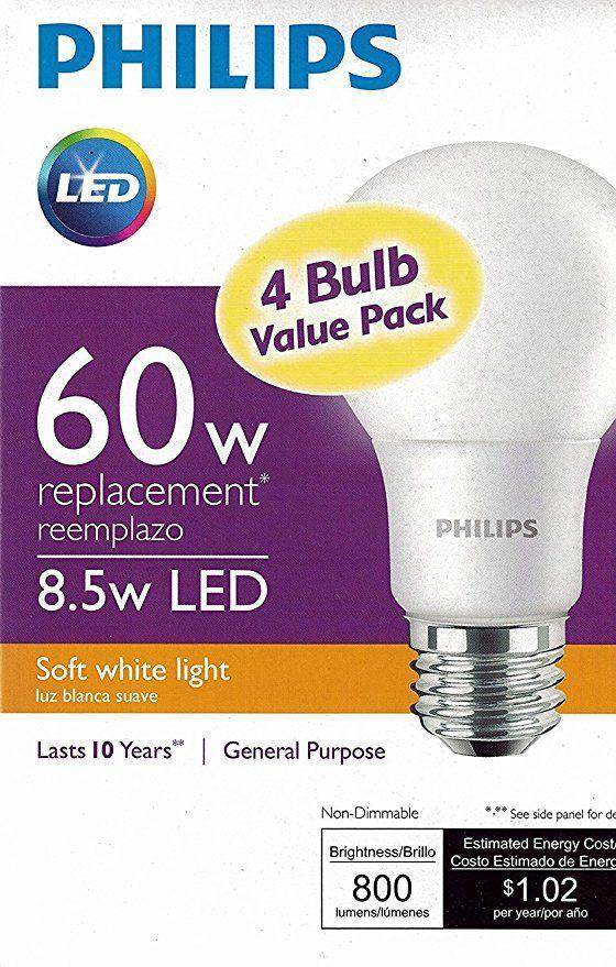 Philips Led Non Dimmable A19 Frosted Light Bulb 1500 Lumen 5000 Kelvin 14 Watt 100 Watt Equivalent E26 Base Led Light Bulb Dimmable Led Lights Light Bulb