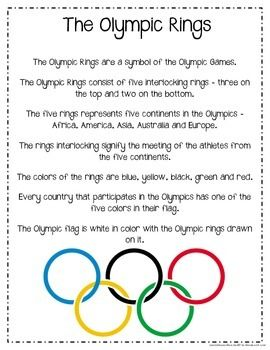 WINTER OLYMPICS LEARNING PACKET - TeachersPayTeachers.com