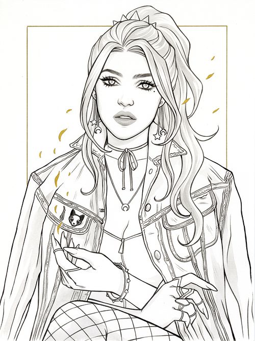Nina Ii Jen Bartel Coloring Books People Coloring Pages Girl Drawing Sketches