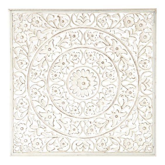 Panneau mural ranakpur blanc direction l 39 inde d coration for Maison du monde cuadros