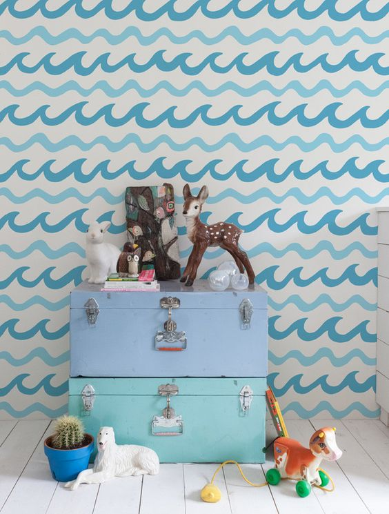 Swell Wallpaper in Macao. Swell is a pattern co-designed by Aimée Wilder + Mowgli Surf www.mowglisurf.com