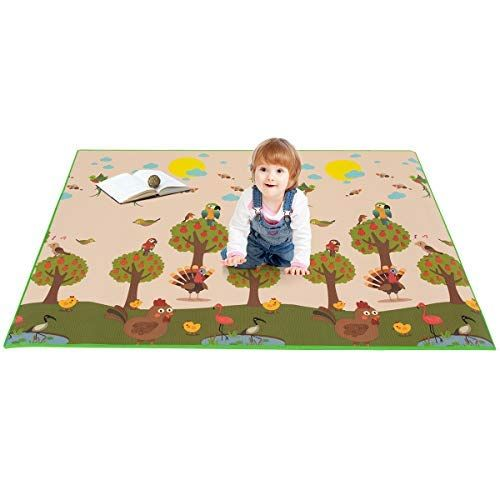Costzon Baby Play Mat Folding Xpe Thick Foam Playmat Non Slip Amp Waterproof Reversible Crawl Mat Portable Double Sides Baby Play Mat Activity Mat Baby Play